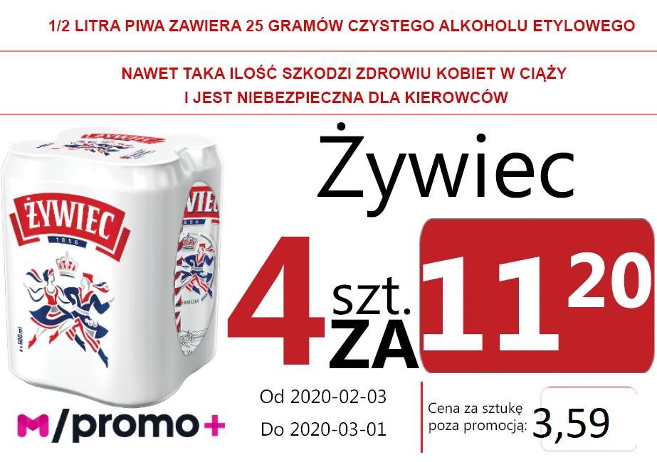 Żywiec Puszka 4 za 11,20 zł