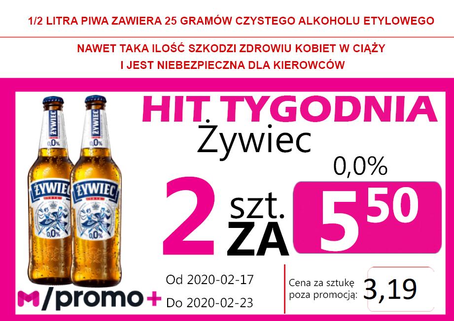 HIT Tygodnia Żywiec 0,0% But 2 za 5,50 zł