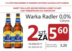 Warka Radler 0,0% Cytryna But 2 za 5,60 zł